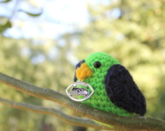 Seattle Seahawk Navy and Neon Green Amigurumi Bird