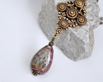 Long Mood Necklace, Mood Bead Necklace, Color Changing Necklace, Mood Jewelry, Antique Brass Mood Necklace, Filigree Necklace, Colorful