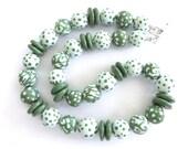 Green Beaded Necklace, Ceramic Jewelry, Kazuri Bead Necklace, Statement Necklace