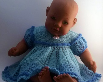 It's A Girl  Baby Shower Gift , Pretty Colorblock teal and blues Frilly Baby Dress
