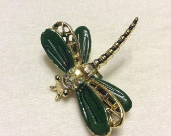 Vintage 1950s dragonfly brooch pin. Enamel and rhinestones.