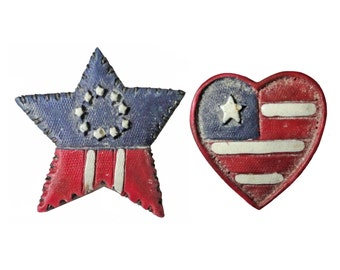 AMERiCAN FLAG HEART & STAR vintage pin lapel brooch badge usa betsey ross