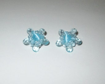 Vintage 1950s 1960s Blue Flower Plastic Lucite Earrings - Clip On Style