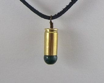 Brass Bullet Casing Necklace, Green Quartz Gemstone, Mens Necklace, Womens Necklace, Bullet Pendant, Steampunk