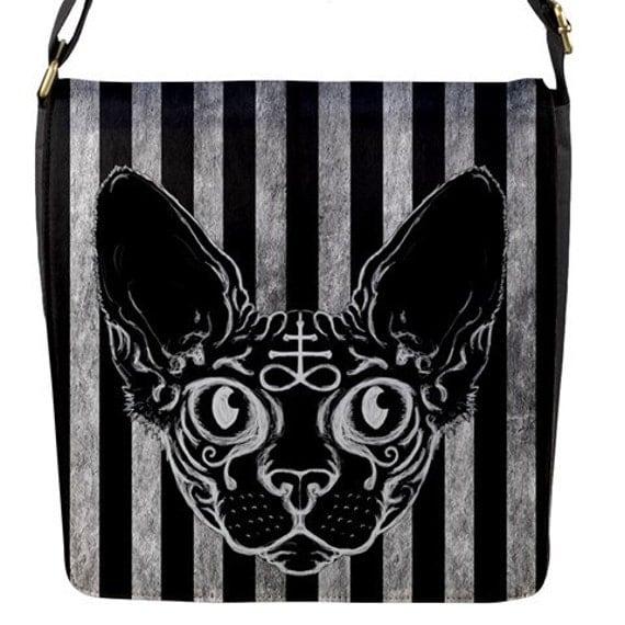 Black Sphinx Cat messenger flap bag