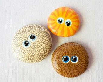 Hand Painted Cute Critter Rocks - Cuddly Creatures - Interactive Art Piece - Cute Lil' Bugger