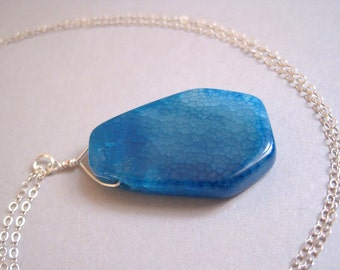Crackle Agate Necklace, Sterling Silver Necklace, Stone Slice Necklace, Blue Stone Necklace, Long Stone Necklace