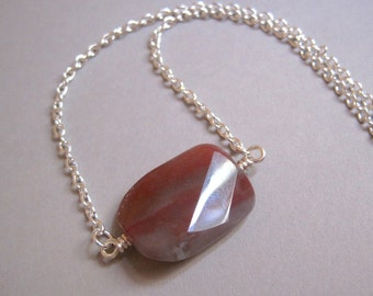 Red Jasper Necklace, Jasper Pendant Necklace, Red Stone, Gemstone Necklace, Rust Colored