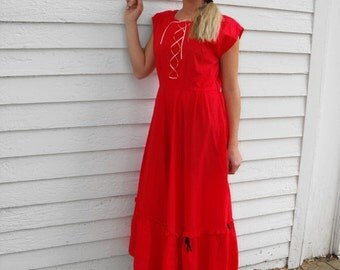 SHOP SALE Red Dress Vintage Full Skirt 40s 50s Laced Up Rockabilly S M