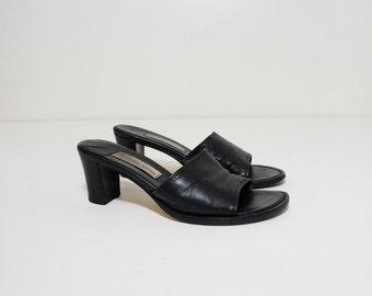 Vintage Black Leather Slip On Mules, Etienne Aigner Pumps Size 7.5