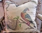 "Bird Botanical Linen Design Legend Fabric 20x20"" Pillow Covers Divine Fringe!"
