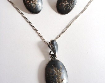 Vintage Siam Sterling Silver Necklace and Earring Set