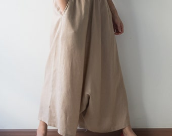 Khaki/Brown/Cream  Linen Wide Leg Pants