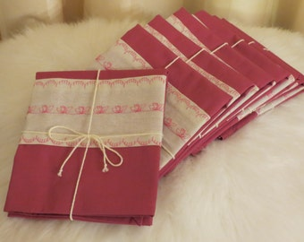 Handmade Machine Embroidered Pink Cotton and Calico Kitchen Tea Towels EACH SOLD SEPARATELY