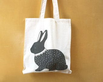 SALE Tote bag - Screen printed -  Bunny with a lace collar