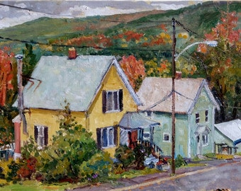 Downhill, October Houses. Oil on Panel, 10x17 American Realist Landscape, Plein Air Impressionist Oil Painting, Signed Original Fine Art