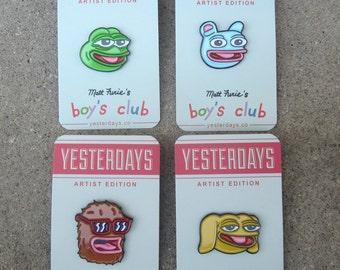 Boy's Club Enamel Pins: Pepe, Brett, Andy, & Landwolf