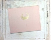 Blush Wedding Guest Book | Blush Guest Book with Gold Vintage Wreath
