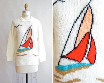 Vintage HANDKNIT sailing sweater