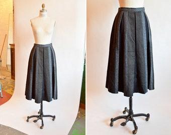 Vintage 1980s PLEATED wool a-line skirt