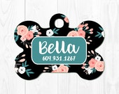 Dog Tag for Dogs Dog id Tag Dog Tags Pet Tag Dog Tag for Dogs Dog ID Tag Pet Tags Dog Tag Pet ID Tag Floral Dog Tag ID Pink
