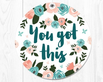 Mouse Pad Floral Mouse Mat Mousepad Office Desk Accessories Dorm Decor You Got This Mouse Pad Inspirational Gift Cubicle Decor New Job Gift