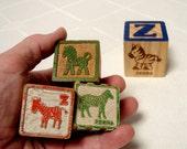 Zebras 3 Wood Toy Blocks Alphabet Blocks 3 Vintage