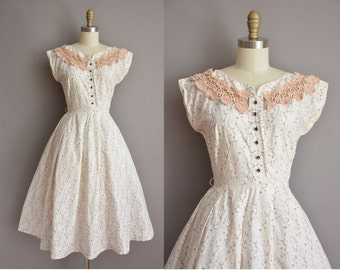 50s Toni Todd floral neckline vintage cotton dress / vintage 1950s dress