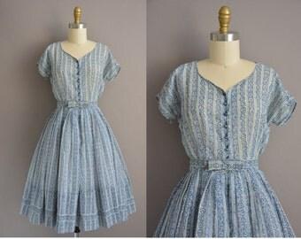 50s blue and purple floral cotton vintage dress / vintage 1950s dress
