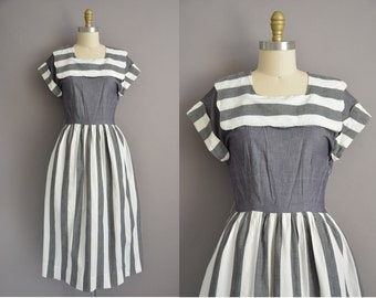 50s chambray bold stripe cotton vintage dress / vintage 1950s dress
