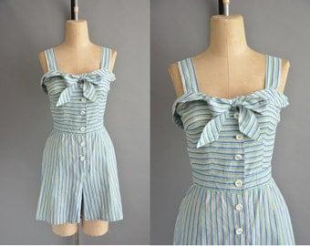 40s Sun Surf cotton stripe vintage romper playsuit / vintage 1940s rommper