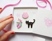 Enamel Pin Gift Box / Cat Enamel Pin / Mermaid Enamel Pin / Unicorn Enamel Pin / Gift for her