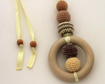 Brown Sand Nursing Necklace Pendant / Teething Necklace