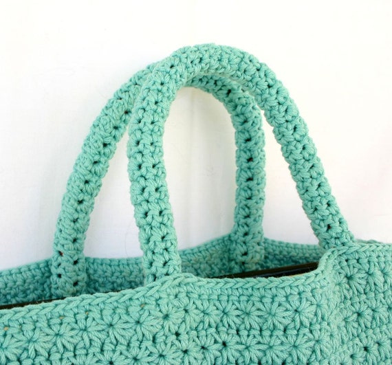 Book tote PDF crochet PATTERN bag handles star stitch ...