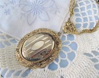 Ornate Filigree Locket Necklace, Large Pendant, Holds 2 Photos, Vintage 60s 70s