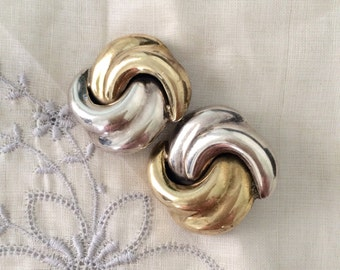 Big Swirl Sterling Silver and Brass Earrings, Chunky, Large Size,  Clip 925 Mexico Vintage 80s
