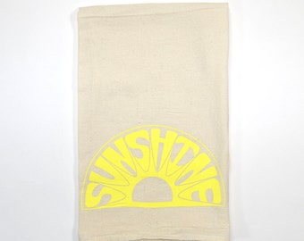Sunshine Flour Sack Tea Towel | On Sale | Yellow and Natural | Screen Printed | Dish Towel | Cloth Towel | Natural Cotton Kitchen Towel