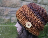 HAT knitted chunky - Big softie hat in autumn rust shade, winter hat brown vegan, womens gift, UK
