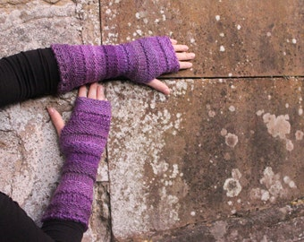 Arm warmers - purple mittens - extra long,  fingerless gloves, vegan knitwear, gift for her UK