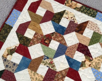 """CIVIL WAR Inspired QUILT, X And O Pattern, Civil War Reproduction Fabrics, Table Mat, 32"""" Square, Primitive Colors, Traditional, Handmade"""