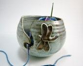 Yarn Bowl - Pottery Yarn Bowl - Rustic Brown Yarn Bowl - Dragonfly - Blue Green - Crocheting Supply - Knitting Supply