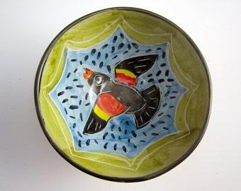 Small Ceramic Serving Bowl - Red Winged Black Bird - Majolica Pottery Bowl - Yellow Red Blue Green - Cereal Bowl - Prep Bowl - Clay Dish