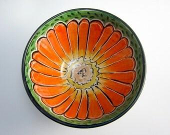 Medium Small  Ceramic Bowl -  Pottery Bowl - Orange Zinnia Flower - Prep Bowl - Majolica Bowl - Green - Cereal Bowl - Small Serving Bowl