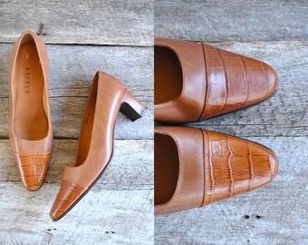 RALPH LAUREN Heels  Sz 8  //   90s Pumps Size 38.5   //  Caramel Toffee