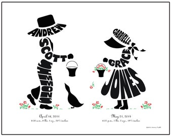 Personalized Brother and Sister Print, Brother and Sister Silhouette Art, Children's Name Art