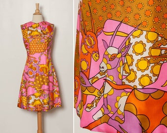 vintage 1960s gazelle tiki dress novelty print