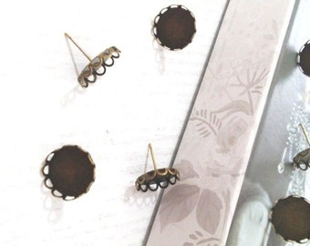 Round Earrings Post Antique Bronze colour Cabochon Settings (Fits 14 mm)