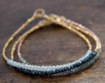 Valentine SALE Black spinel beaded tennis bracelet with gold vermeil - friendship bracelet- minimalist
