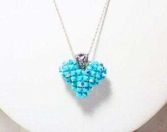 Sparkling Blue Heart Pendant, Jewelry