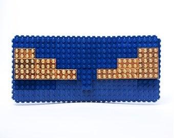 "Dark blue clutch purse with 24k gold plated ""wings"" made with LEGO® bricks FREE SHIPPING purse handbag legobag trending fashion"